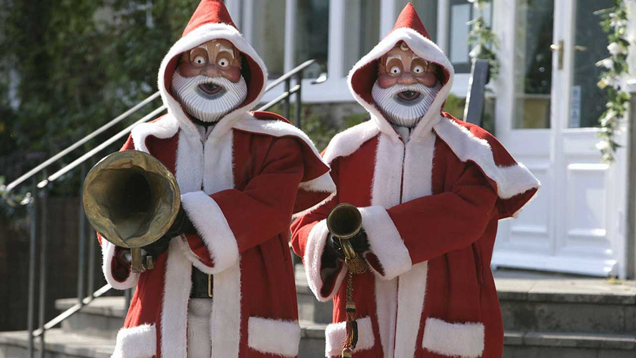 Robots Santas playing a deadly song