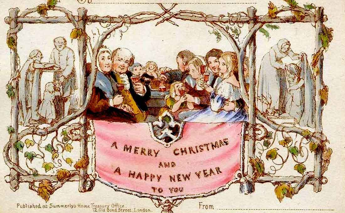 The first Christmas cards were commissioned by Sir Henry Cole and illustrated by John Callcott Horsley