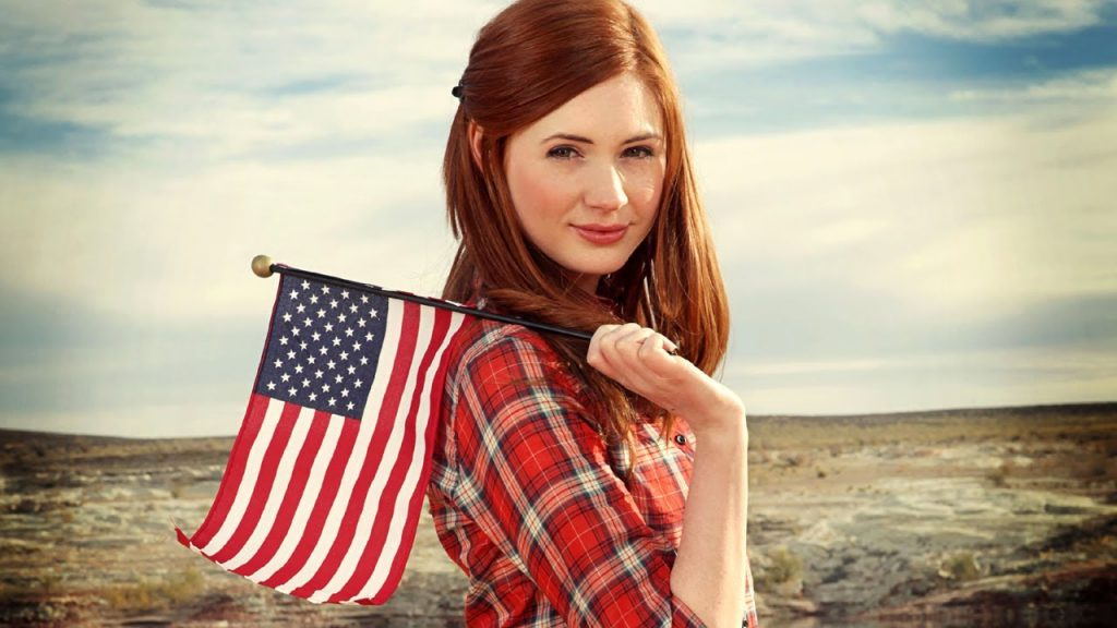 Amy Pond flies the star spangled banner