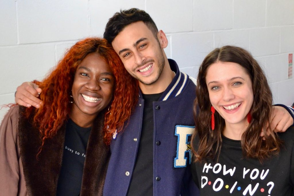 The cast, Vivian Oparah, Fady Elsayed and Sophie Hopkins enjoy the recordings