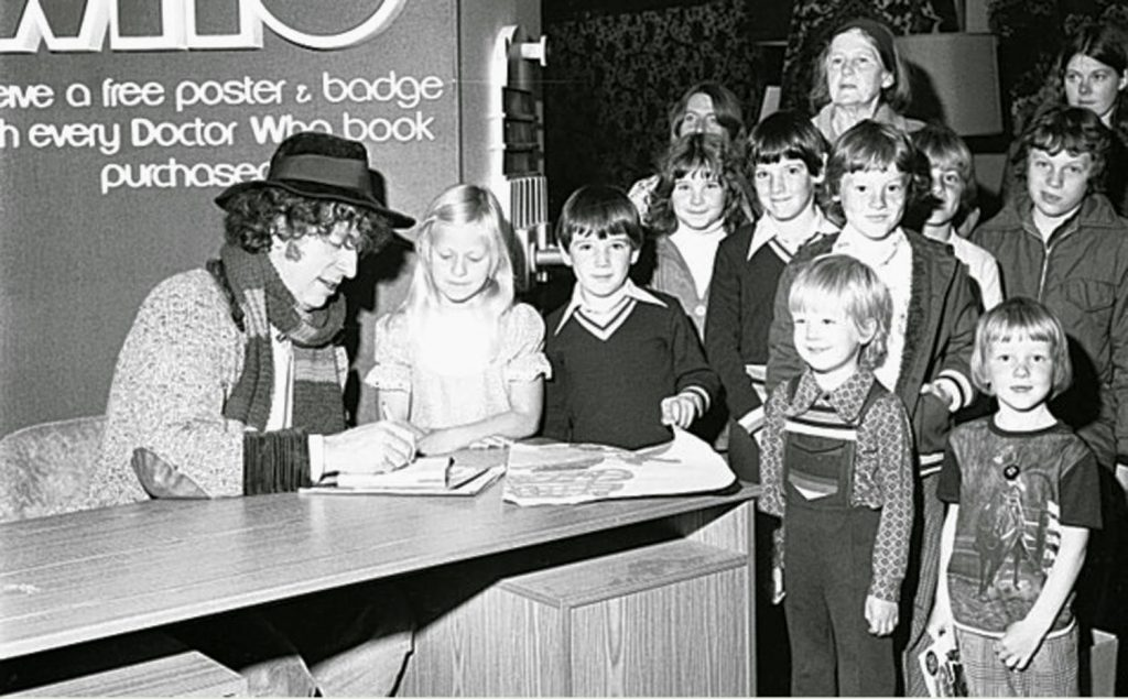 Tom Baker at a signing attended by young fans
