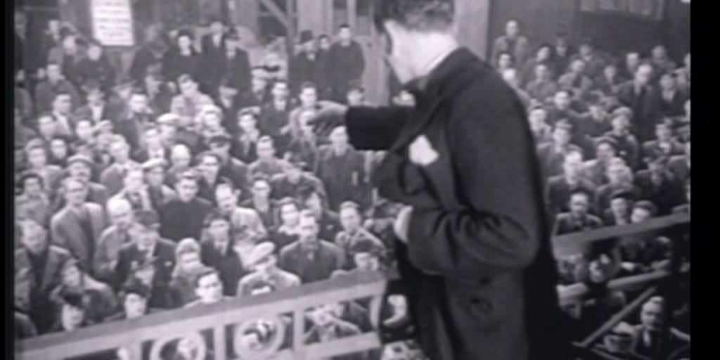 Hartnell delivers an impassioned speech to his workforce in 'The Agitator' (1945)