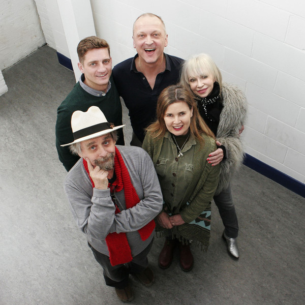 The main cast of Muse of Fire: Sylvester McCoy, Sophie Aldred, Katy Manning, David Benson and Phillip Olivier