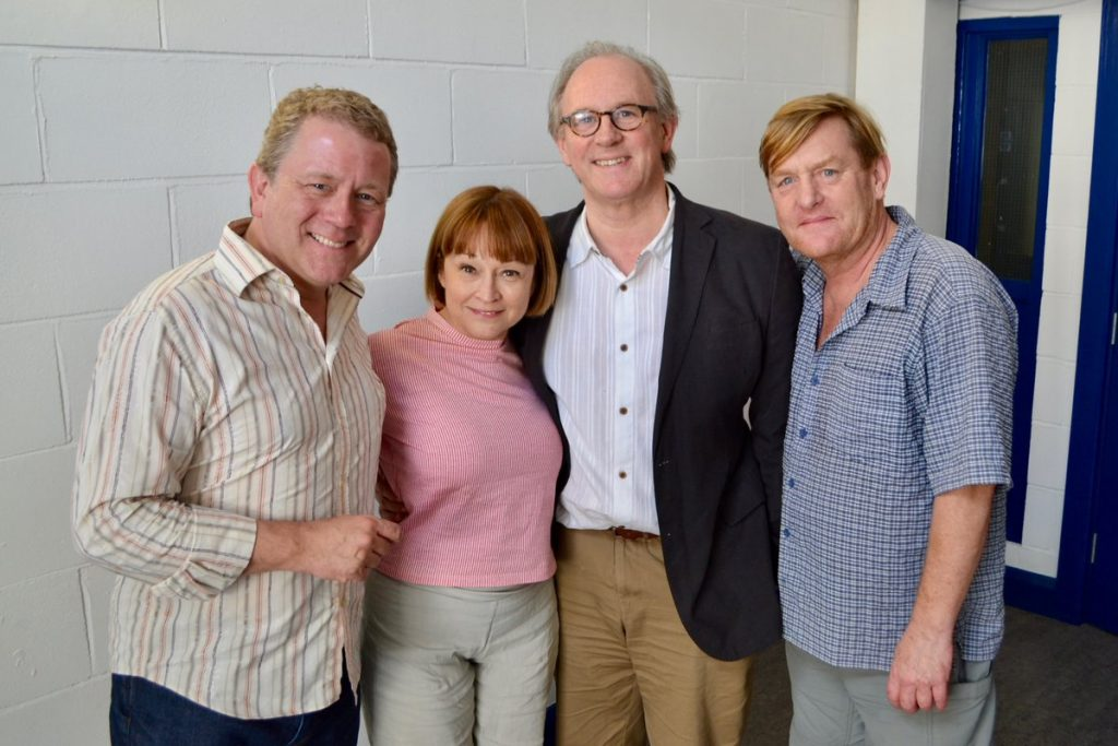 The new TARDIS team, Jon Culshaw, Janet Fielding, Peter Davison and Mark Strickson