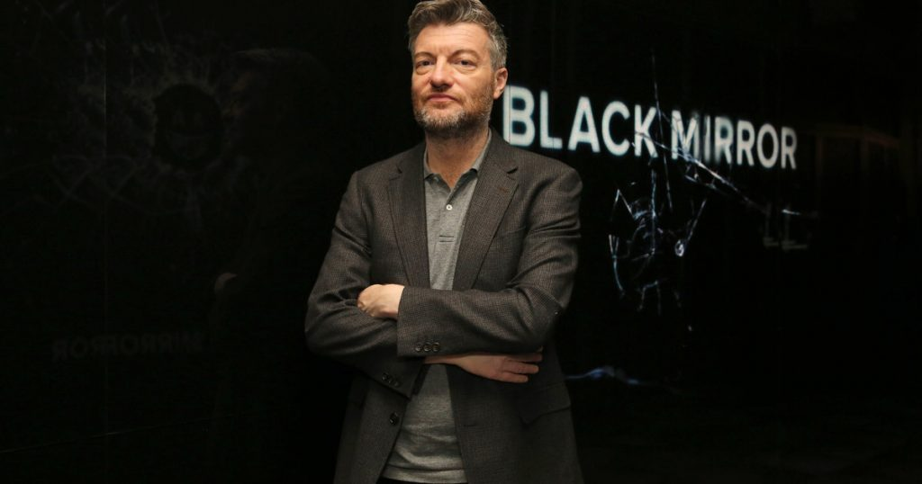 Charlie Brooker, seen at the 'Black Mirror' panel Q&A at the FYSee exhibit space on Friday, May 19, 2017, in Los Angeles. (Photo by Blair Raughley/Invision for Netflix/AP Images)