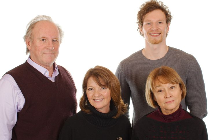 The new TARDIS crew: Peter Davison, Sarah Sutton, Janet Fielding and introducing George Watkins as Marc