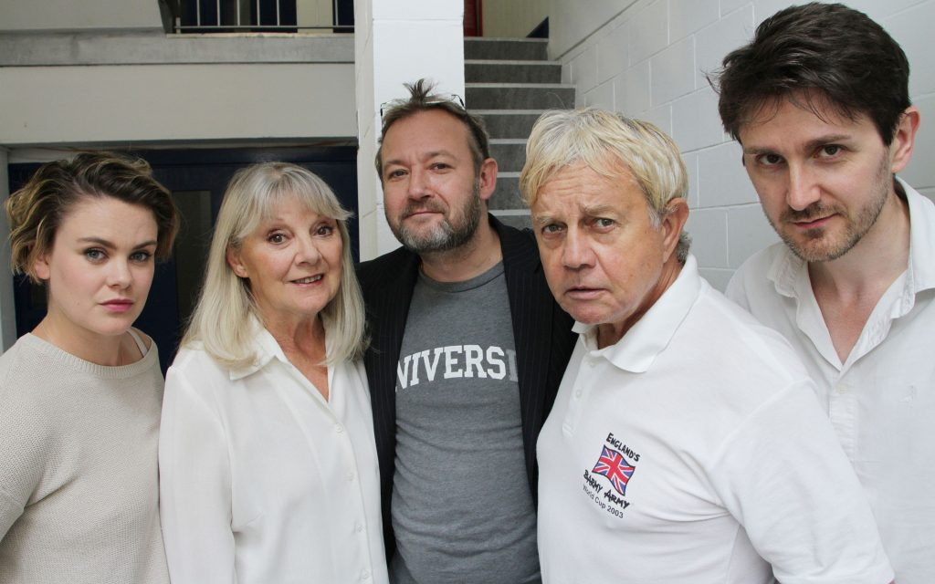 The cast of The Home Guard: Molly Hanson, Anneke Wills, James Dreyfus, Frazer Hines and Elliot Chapman