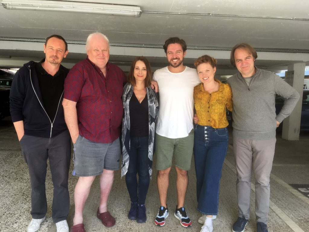 The cast enjoy the recording in the famous Big Finish carpark!