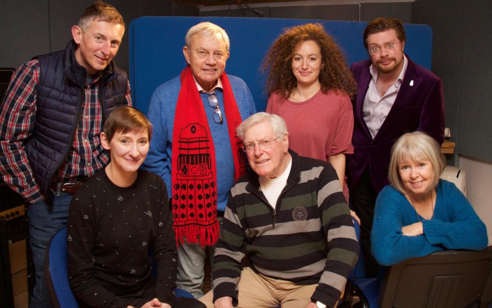 L–R: David Richardson, Laura Elphinstone, Frazer Hines, Peter Purves, Ajjaz Awad, David K Barnes and Wendy Padbury