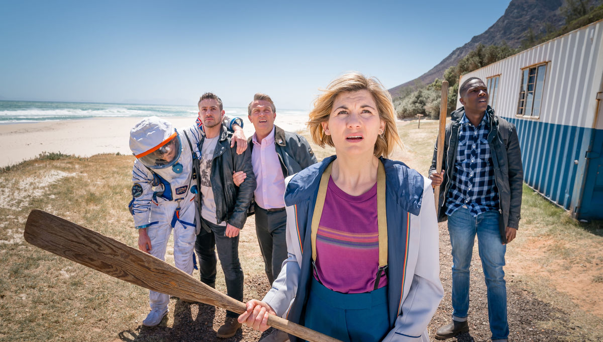 Matthew McNulty as Adam Lang, Warren Brown as Jake Willis, Bradley Walsh as Graham, Jodie Whittaker as The Doctor, Tosin Cole as Ryan - Doctor Who _ Season 12, Episode 6 - Photo Credit: Ben Blackall/BBC Studios/BBC America