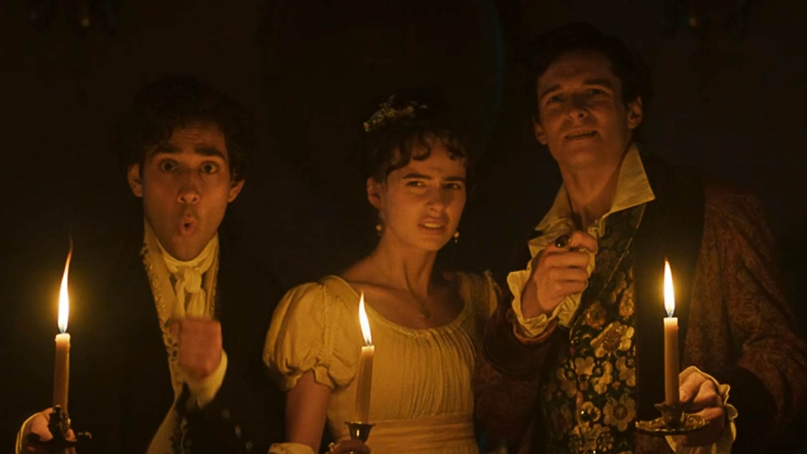 Maxim Baldry – Dr John Polidori (left), Nadia Parkes – Claire Clairmont (Centre) and Jacob Collins-Levy – Lord Byron (Right)