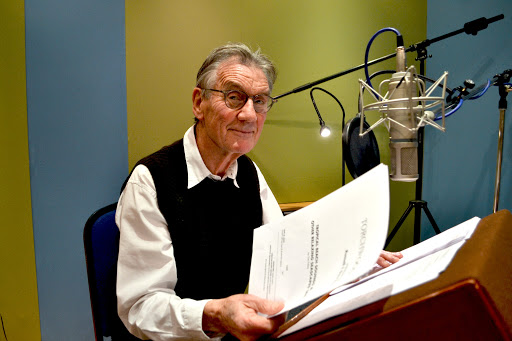 Sir Michael Palin at the recording session