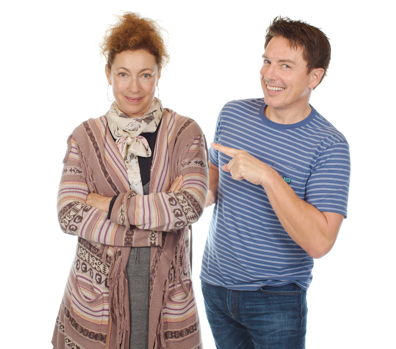 John Barrowman and Alex Kingston enjoy the recording