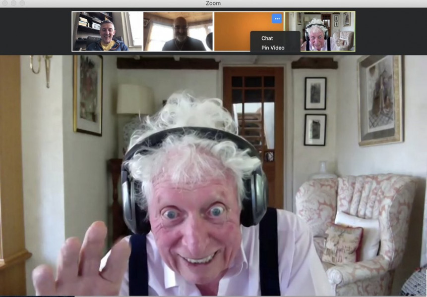 Tom Baker enjoying the recording session with Zoom