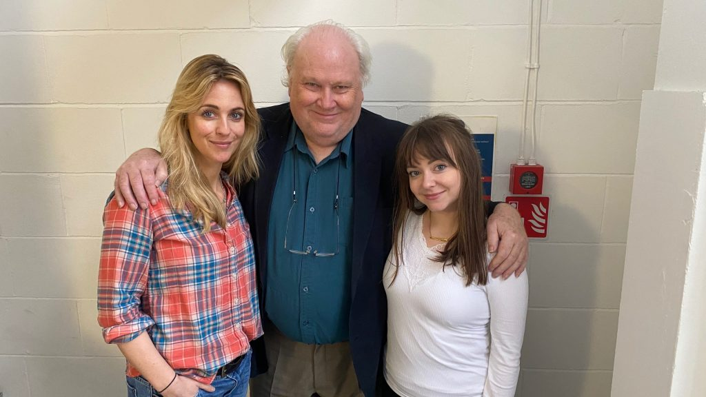 The TARDIS team for Scorched Earth, Miranda Raison, Colin Baker and Lisa Greenwood as Constance, The Doctor and Flip