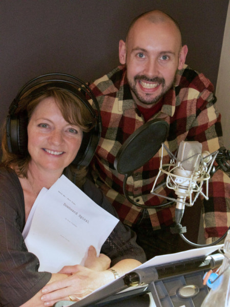 Sarah Sutton and Alan Flanagan at the recording for Downward Spiral