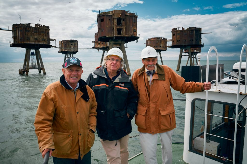 Frazer Hines, Michael E. Briant and 'Mad' Mike Smith at the Red Sands Sea Fort