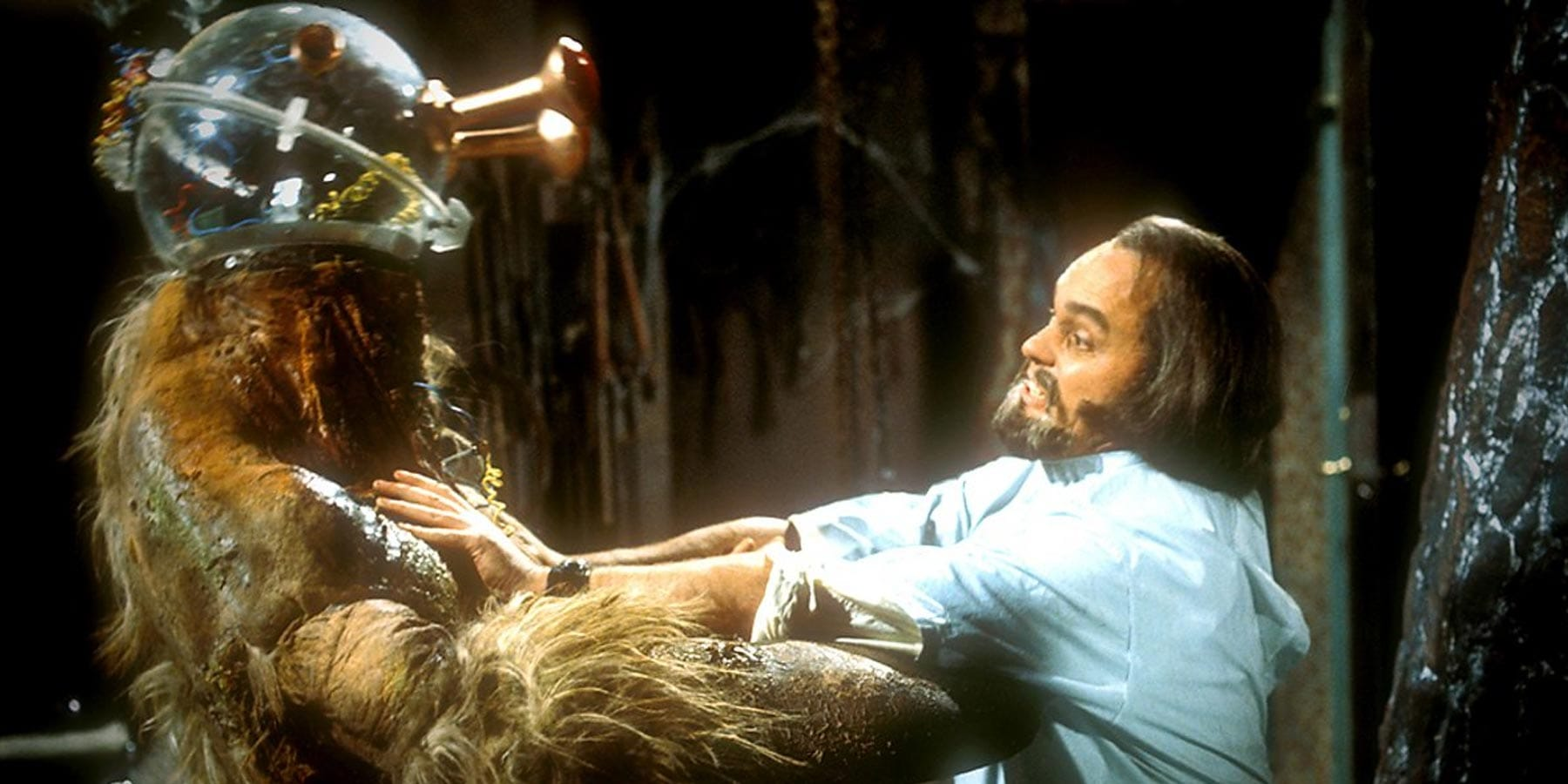 Solon gets tough with the monster in The Brain of Morbius, 1976